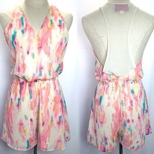 Roy Becca XXI water color romper. Sheer back